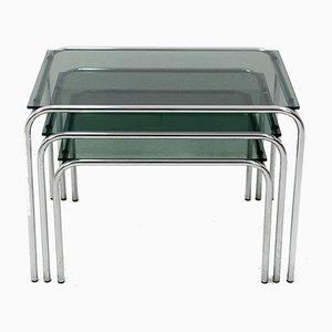 Tavoli ad incastro in metallo cromato e vetro, anni '60