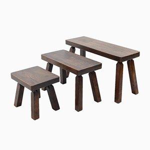 Tavoli ad incastro in quercia massiccia, anni '70