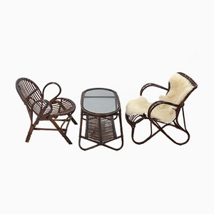 Vintage Three-Piece Rattan Set by Rohé Noordwolde