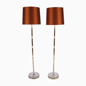 Brass Floor Lamps, 1960s, Set of 2
