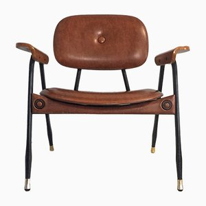 Armlehnstuhl aus Skai & Eisen von Marco Zanuso für Poltronova, 1970er