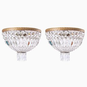 French Crystal Chandeliers, 1930s, Set of 2