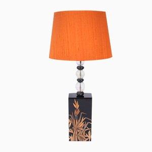 Lampe de Bureau Vintage en Verre et Soie, France, 1970s