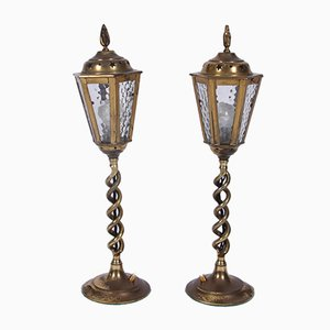 Lampade a forma di lanterna in ottone, anni '60, set di 2