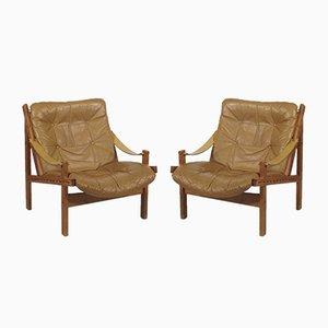 Schwedische Hunter Chairs von Torbjorn Afdal für Bruksbo, 1960er, 2er Set