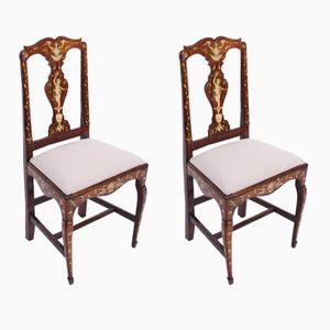 Antike niederländische Stühle mit Intarsien, 2er Set