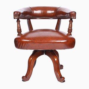 Sedia da scrivania antica in pelle