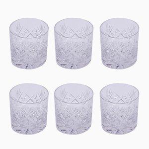 Bicchieri Mid-Century in vetro intagliato, set di 6