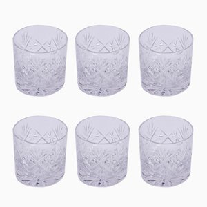 Mid-Century Cut Glass Tumblers, Set of 6