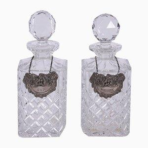 Bottiglie da liquore vintage con medagliette, set di 2