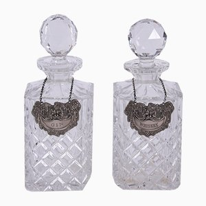 Vintage Decanters With Spirit Labels, Set of 2