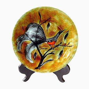 Plato de cerámica Faience esmaltado de Le Pemp, años 70