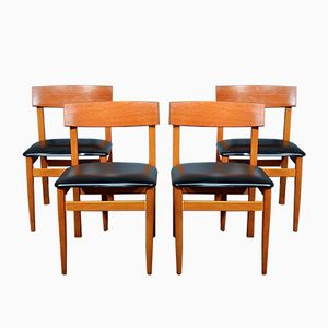 Mid-Century Teak and Leatherette Chairs, Set of 4