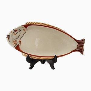 Majolica Servierteller in Fisch-Optik von HB Quimper, 1950er