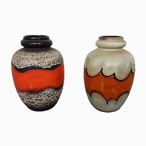 Jarrones de cerámica Fat Lava de Scheurich, años 70. Juego de 2