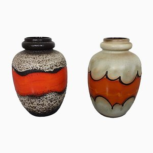 Large Fat Lava Ceramic Vases from Scheurich, 1970s, Set of 2