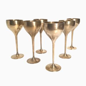 Vintage Brass Goblets, Set of 6