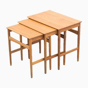 Tables Gigognes Modèle AT-40 Mid-Century en Chêne par Hans J. Wegner pour Andreas Tuck