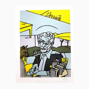 Jacques Derrida Lithograph by Valerio Adami, 2014