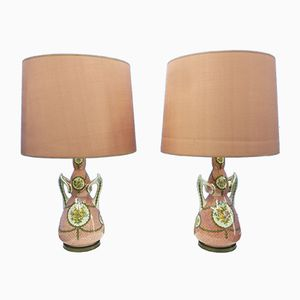 Italian Ceramic & Brass Table Lamps, 1950s, Set of 2