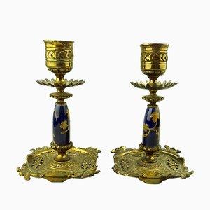 Vergoldete Kerzenständer aus Porzellan, 1880er, 2er Set