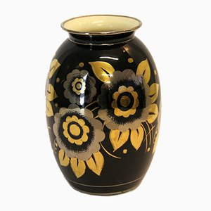 Jarrón Art Déco vintage de cerámica