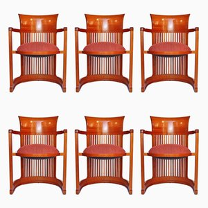 Barrel Chairs by Frank Lloyd Wright for Cassina, 1986, Set of 6