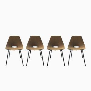 Tonneau Stühle von Pierre Guariche für Steiner, 4er Set