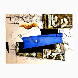 Gitarre Pochoir von Pablo Picasso, 1962