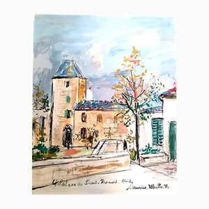 Inspired Village of Montmartre Pochoir by Maurice Utrillo, 1950