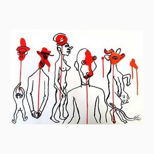 Lithographie Behind the Mirror par Alexander Calder, 1976