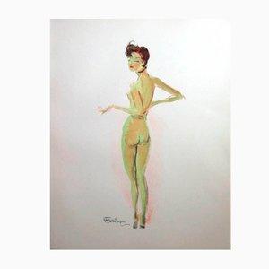 Litografia Naked di Jean-Gabriel Domergue, 1956