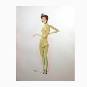Naked Lithograph by Jean-Gabriel Domergue, 1956