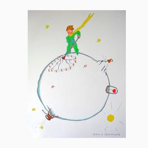 Vintage The Little Prince Volcano's Chimney Sweep Lithograph by Antoine de Saint Exupery