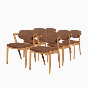 Model 42 Oak Dining Chairs by Kai Kristiansen for Schou Andersen, 1960s, Set of 6