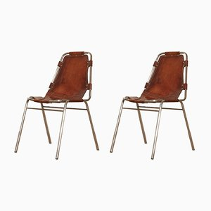 Tubular Steel and Cognac Leather Les Arcs Chairs by Charlotte Perriand, 1970s, Set of 2