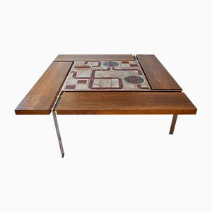 Large Vintage Rosewood & Chrome Coffee Table by Svend Aage Jessen & Sejer Pottery for Ryesberg