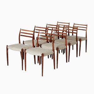Danish Model 78 Rosewood Chairs by Niels O. Møller for J.L. Møllers, 1960s, Set of 8