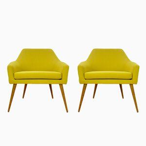 Yellow Oak Armchairs, 1960s, Set of 2