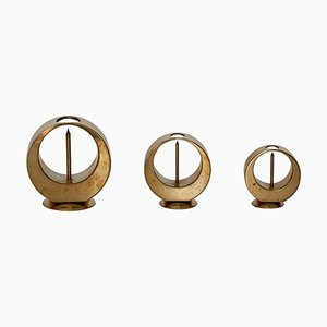 Brass Candlesticks by Artur Pe Kolbäck, 1950s, Set of 3