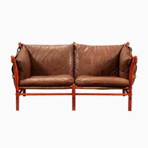 Ilona Sofa in Brown Leather by Arne Norell, 1960s