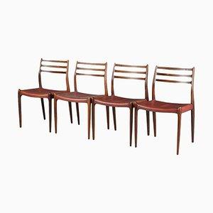 Dänische Modell 78 Esszimmerstühle aus Palisander von Niels O. Møller für J.L. Møllers, 1960er