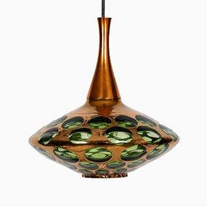 Lámpara colgante danesa de vidrio, años 60
