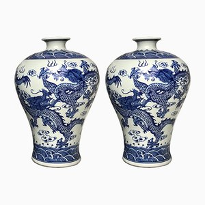 Chinese Blue & White Dragon Porcelain Vases, 1970s, Set of 2