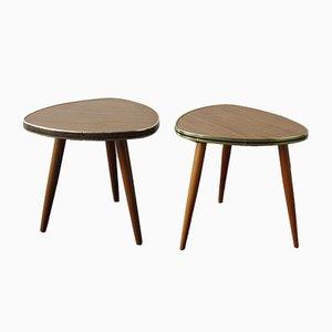 Mesas para plantas de madera y formica, años 70. Juego de 2