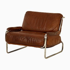 Brown Leather Easy Chair, 1970s