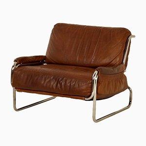 Poltrona de cuero marrón, años 70