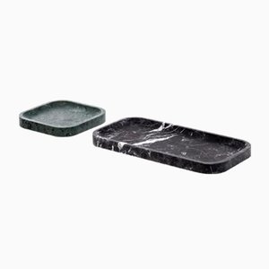 L Collection 04 Pietra Trays in Verde Alpi and Nero Marquinia Marble by Piero Lissoni for Salvatori, Set of 2