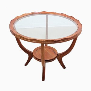 Round Italian Walnut Coffee Table, 1940s