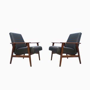 Dark Grey Lounge Chairs, 1960s, Set of 2